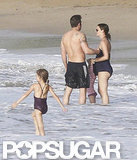 A shirtless Ben Affleck had his arm around Jennifer Garner while in the water with their daughters Seraphina and Violet in Puerto Rico.