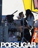 Justin Bieber gets a visit from his girlfriend Selena Gomez on the set of his music video in April.