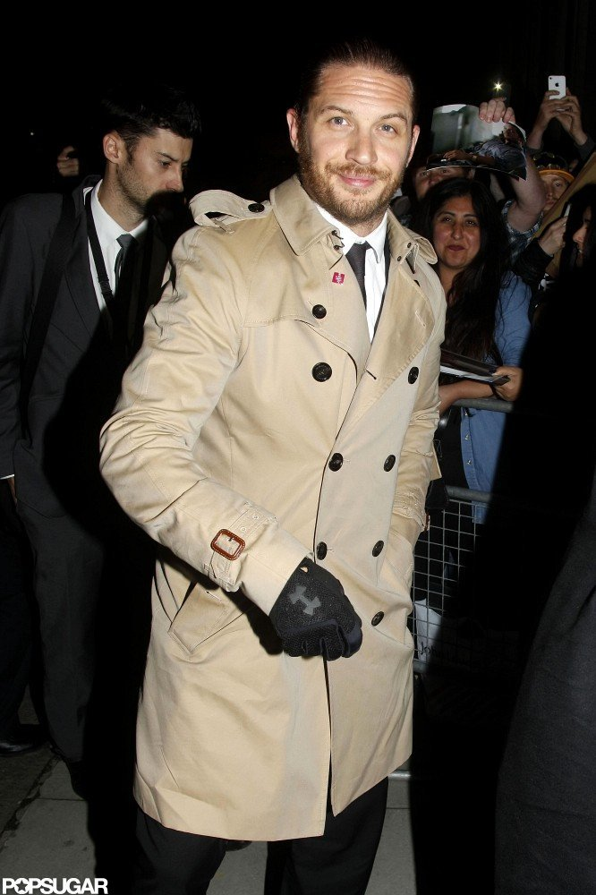 Tom Hardy kept his trench coat buttoned in London.