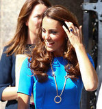Kate Middleton showed off her sapphire ring.