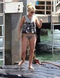 In July 2011, Julianne Hough wore bikini bottoms and a life vest in Miami.