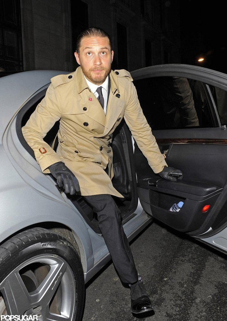 Tom Hardy stepped out of his car to attend The Dark Knight Rises afterparty.