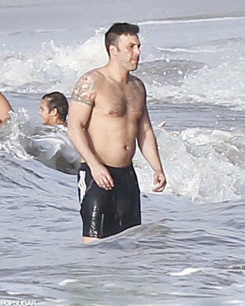 Shirtless Ben Affleck's arm tattoos were on display.