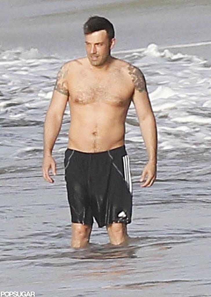 Ben Affleck went shirtless on the beach.