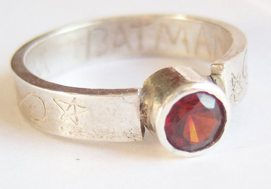 Silver and Garnet I am Batman ring ($62)