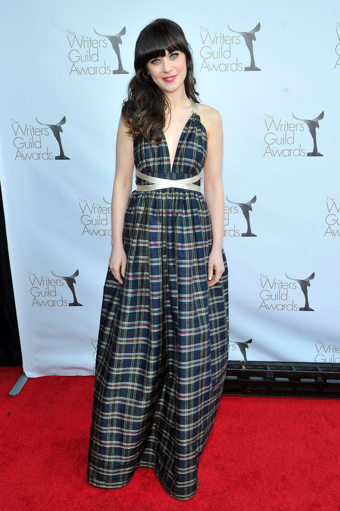 The New Girl actress donned her own vintage Shareen plaid-printed gown for the 2012 Writers Guild Awards.