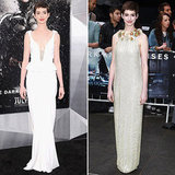 The Dark Knight Rises is out (finally!) and we're taking a closer look at leading lady Anne Hathaway's red-carpet premiere ensembles.