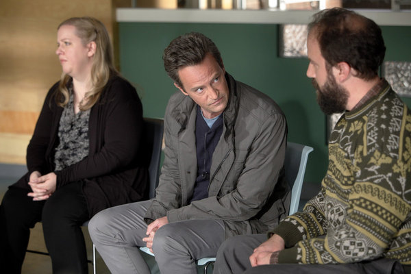Sarah Baker, Matthew Perry, and Brett Gelman in Go On. Photo courtesy of NBC