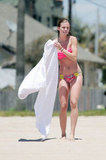 AnnaLynne McCord picked up her towel wearing a bikini on an LA beach.