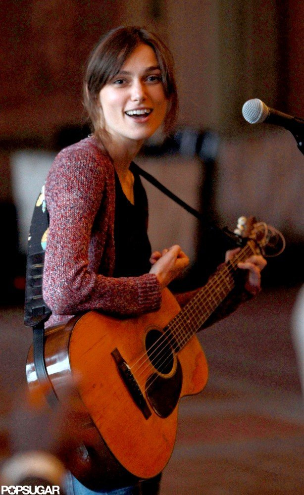 Keira Knightley took her place near the microphone on set.