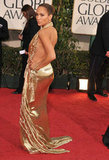 Jennifer Lopez wore an open-back gown to the 2009 Golden Globe Awards in LA.
