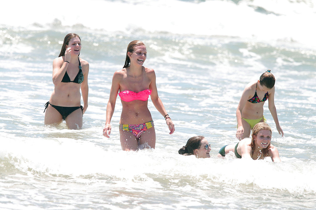 AnnaLynne McCord got into the ocean with friends in LA.