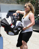 Hilary Duff carried Luca in his carrier in LA.