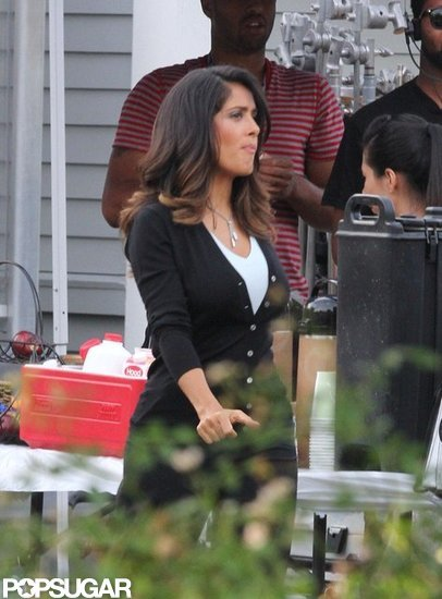 Salma Hayek on the set of Grown Ups 2.