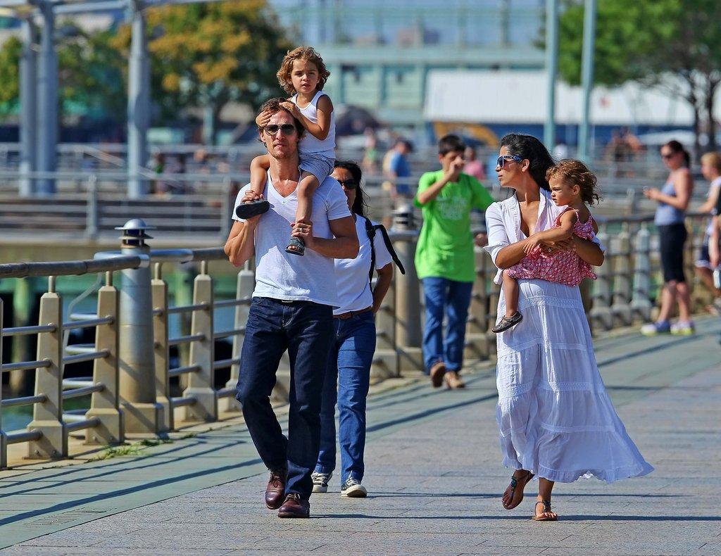 Matthew McConaughey, Camila Alves, Levi McConaughey, and Vida McConaughey spent Sunday in NYC.