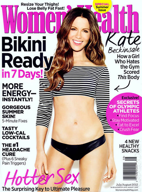 Kate Beckinsale wore a crop top and bikini bottoms for the July/August issue of Women's Health.