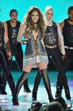 Jennifer Lopez went with thigh-high boots for a May 2010 show in Monte Carlo.