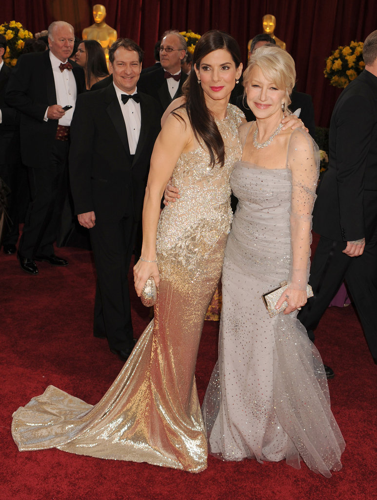 Sandra met up with Helen Mirren on the red carpet at the March 2010 Oscar ceremony in LA.