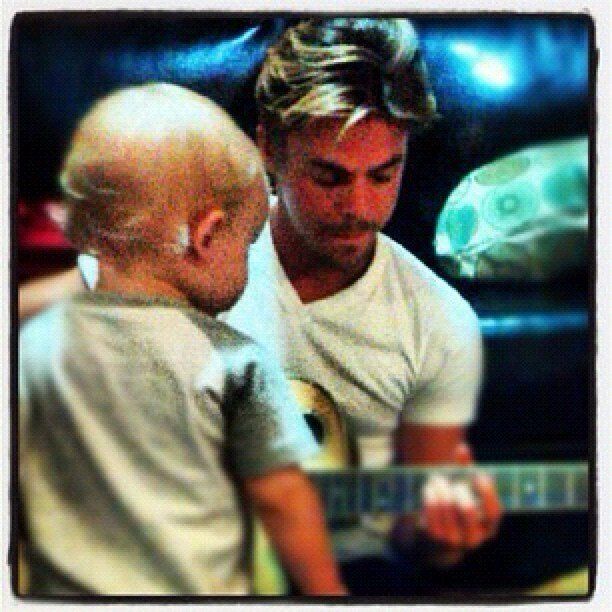 Derek Hough played guitar for his nephew Quaid. Source: Instagram user derekhough