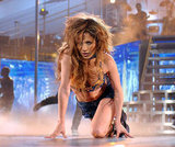 Jennifer Lopez crawled around on stage during a performance in Puerto Rico in September 2001.