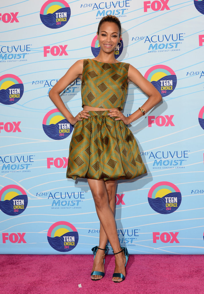 Zoe Saldana wore a geometric-printed Jonathan Saunders crop top with its voluminous matching skirt. To top if off, she paired the look with sweet teal-hued Christian Louboutin heels.