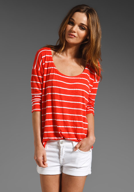We can attest to the fact that this fit is spot-on and supersoft. It fits like the t-shirt you've had for years; it just looks a whole lot better.  Splendid White Venice Stripe Tee ($74)