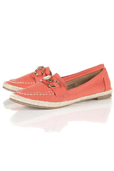 These cute, salmon-colored loafers have a beachy espadrille sole. Topshop Tommy Snaffle Loafer ($50)