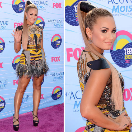 Pictures of Host Demi Lovato on the Red Carpet at the 2012 Teen Choice Awards: Rate or Hate Her Glam Look?