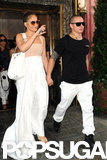 Jennifer Lopez greeted fans walking out of lunch with Casper Smart.