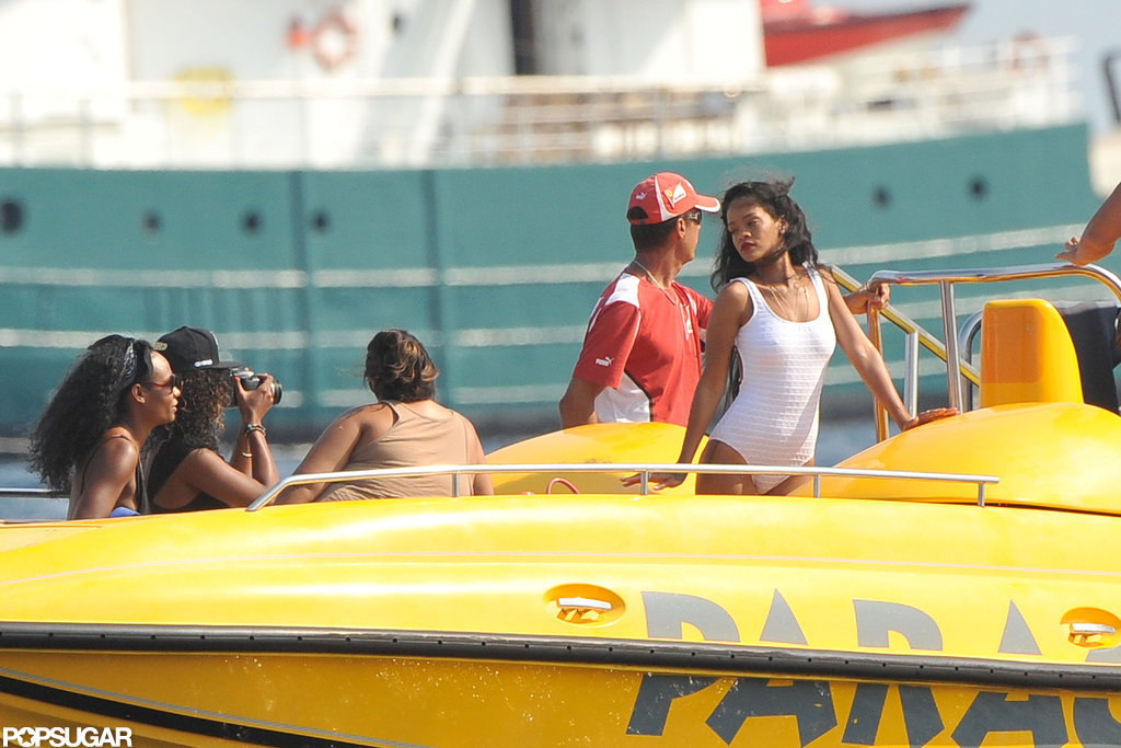 Rihanna wore a white swimsuit.