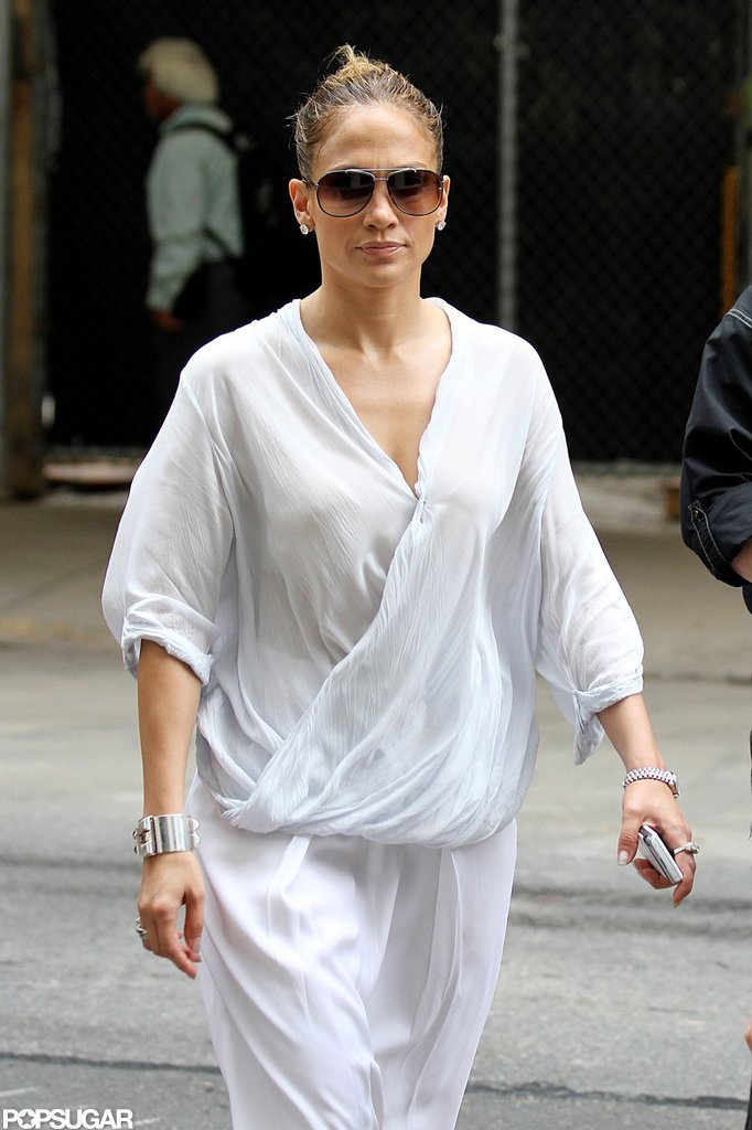 Jennifer Lopez wore an all-white ensemble on the streets of NYC.