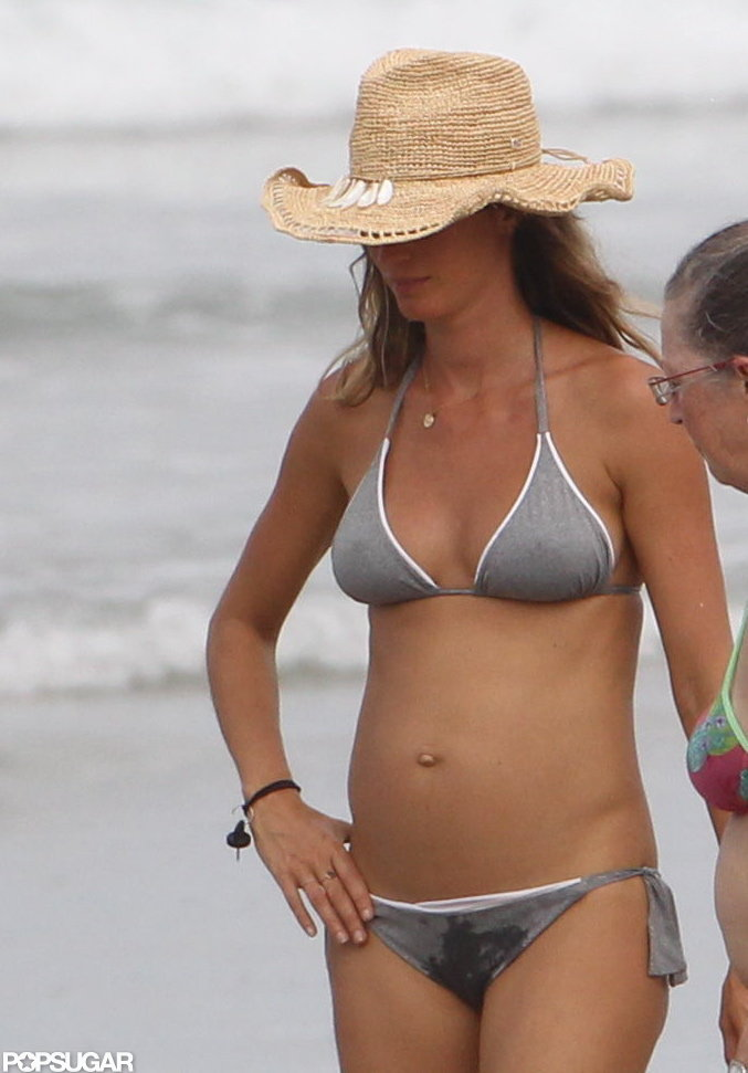 Gisele Bundchen wore a straw hat.