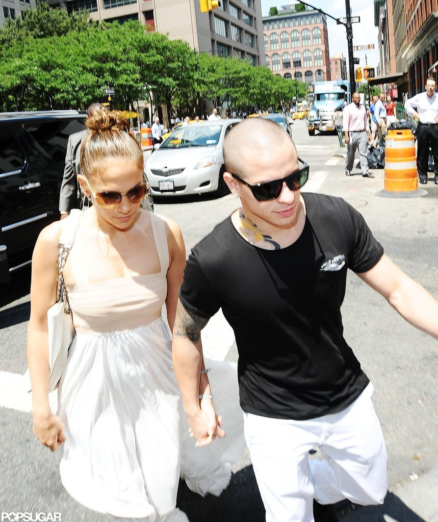 Jennifer Lopez wore a long dress with boyfriend Casper Smart on her birthday in NYC.