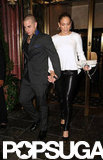 Jennifer Lopez grabbed Casper Smart's hand at dinner in NYC.