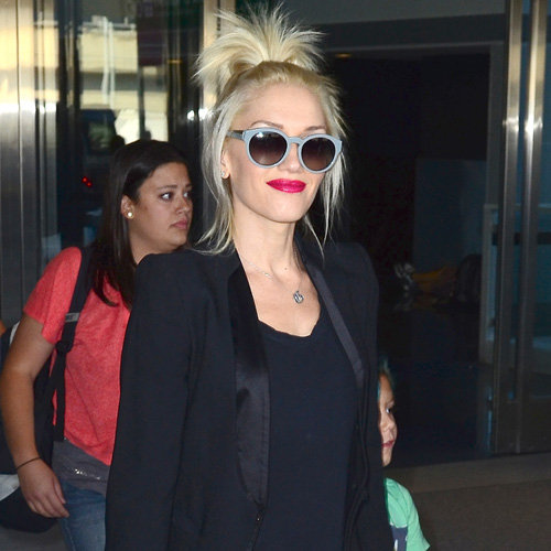 Gwen completed her all-black travel look with these Stella McCartney blueish gray round sunglasses ($225).