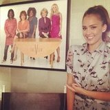 Jessica Alba hung out in the green room before her appearance on The View. Source: Instagram user jessicaalba