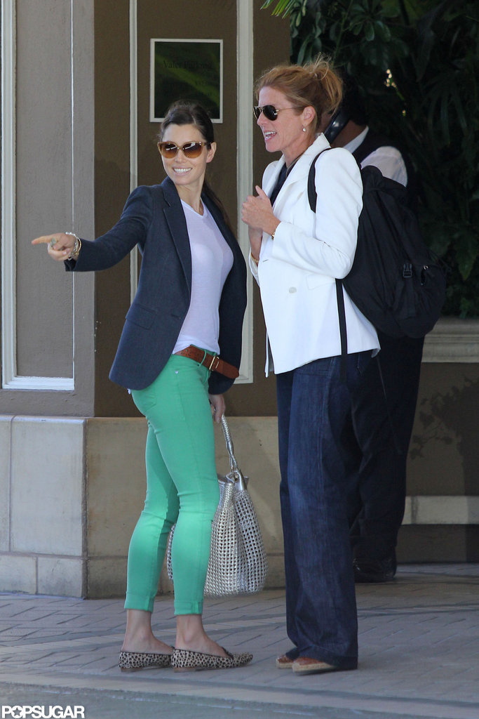 Jessica Biel smiled with a friend.