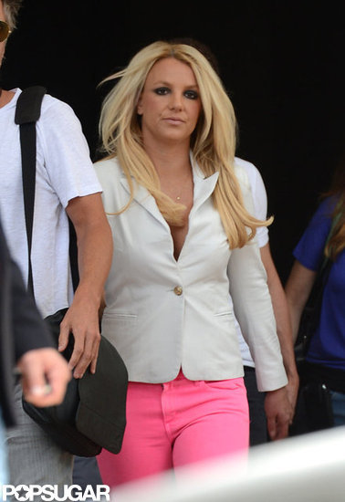 Britney Spears was in a white blazer.