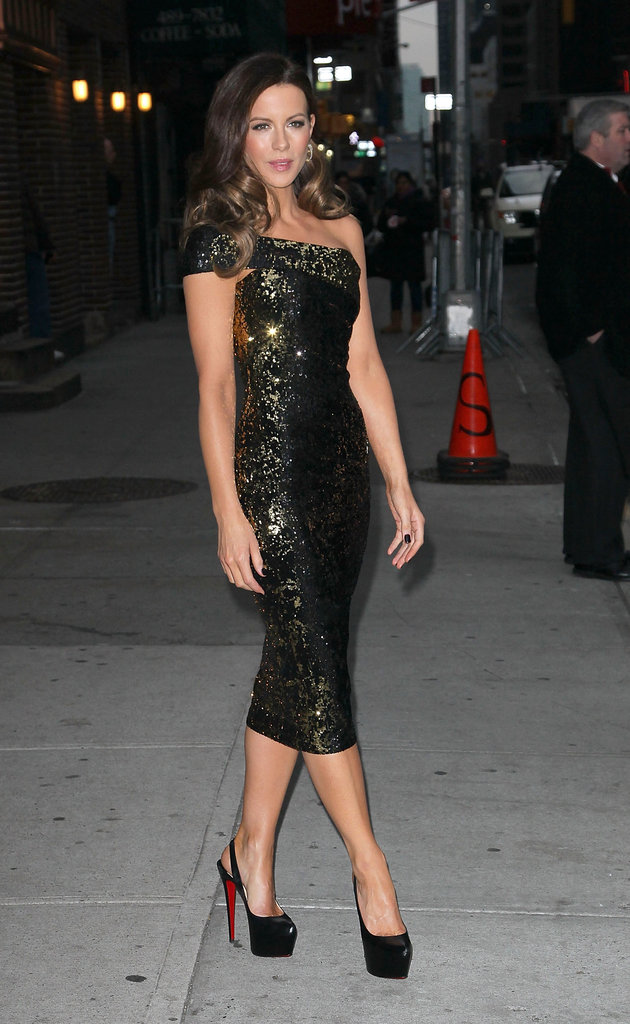 Kate Beckinsale posed in a tight dress and high black heels outside of the Late Show With David Letterman in January.