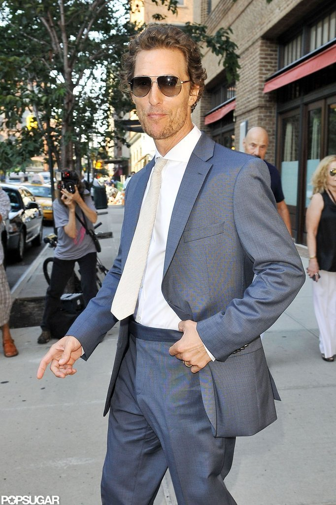 Matthew McConaughey headed out of his hotel in NYC.