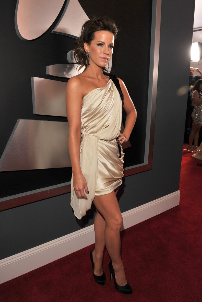 Kate Beckinsale donned a one-shoulder silk dress at the Grammys in February.