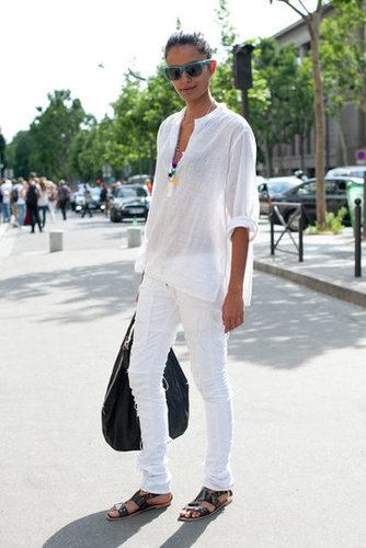 White-on-white feels effortlessly summery — and we love the chic black accents.