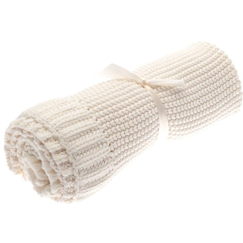 Green Baby Crochet Knit Blanket Ivory ($68)