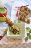 Grilled Hot Dog Skewers and Creamy Avocado Dip