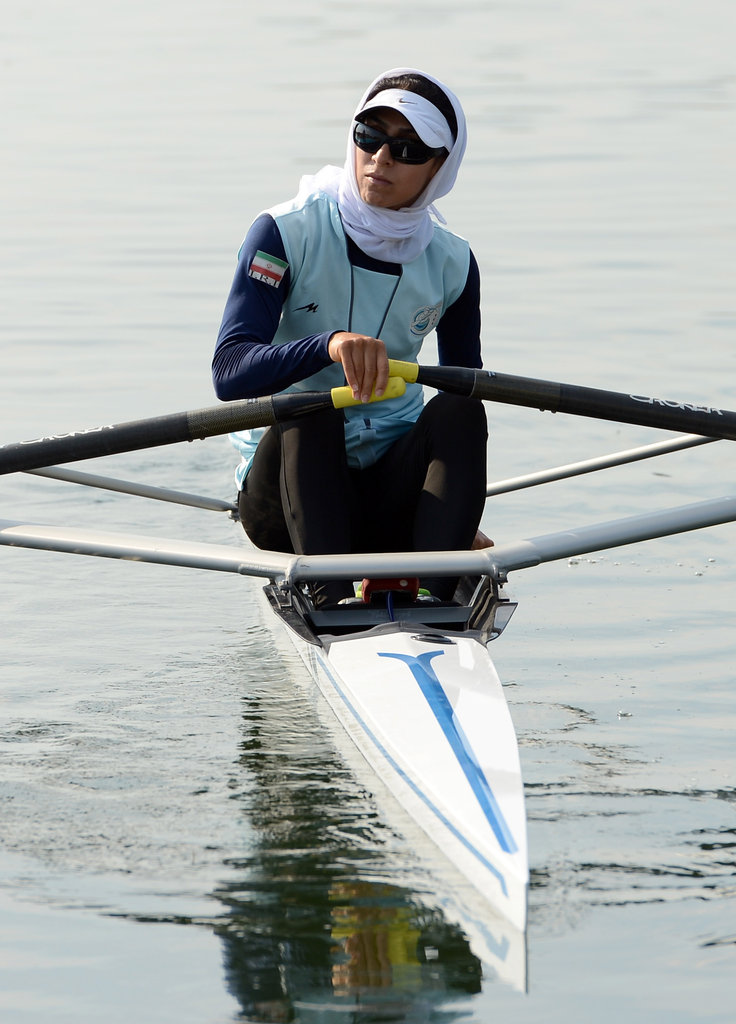 Solmaz Abbasi of Iran begins her practice run at Eton Dorney.