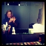 Kylie prepared for a day of elimination interviews in the makeup chair. Source: Instagram user kyliemillar