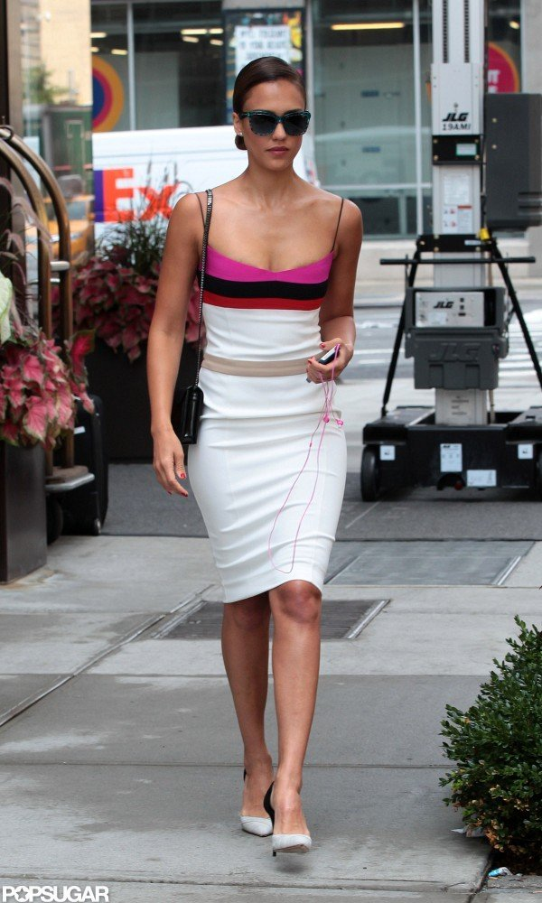 Jessica Alba wore a form-fitting Narciso Rodriguez dress while walking in NYC.