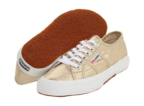 Go for the gold (and we mean it!) with these awesome Supergas in a gilded finish. They'll look amazing with your white skinnies.  Superga 2750 LAMEW ($75)