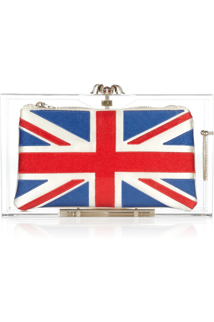 Go luxe with a little London pride that you can tote on your next date or girls' night out.  Charlotte Olympia London 2012 Pandora Perspex Clutch ($965)