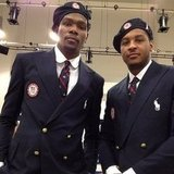 Carmelo Anthony and Kevin Durant looked sharp in uniform.  Source: Instagram user kevinlove7